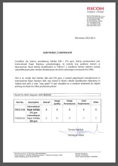 Example Ricoh test certificate | Ricoh Production Print Blog
