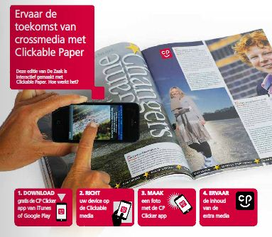 Ricoh Clickable paper in action on De Zaak magazine