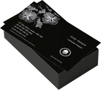Business cards using white toner on black card
